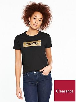 replay-metallic-logo-t-shirt-ndash-black