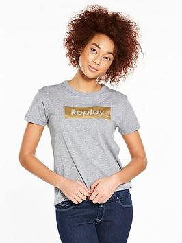 Replay Metallic Logo T-Shirt - Grey