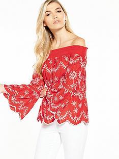 miss-selfridge-miss-selfridge-cambric-embroidered-bardot-top