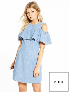 miss-selfridge-petite-denim-cold-shoulder-dress-mid-blue