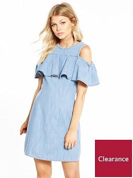 miss-selfridge-petite-denim-cold-shoulder-dress-mid-blue