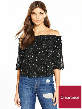 miss-selfridge-printed-mesh-volume-sleeve-bardot-top
