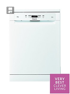 Hotpoint HFO3C23WF 14-Place Full Size Dishwasher with Quick Wash and 3D Zone Wash - White