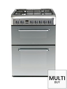indesit-kdp60ses-60cm-dual-fuel-double-oven-cooker-gas-hob-with-fsd-stainless-steel