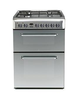 Indesit Kdp60Ses 60Cm Dual Fuel Double Oven Cooker, Gas Hob With Fsd - Stainless Steel