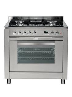 hotpoint-ultimanbspeg900xs-90cmnbspwide-dual-fuel-cooker-gas-hob-with-fsd-stainless-steel