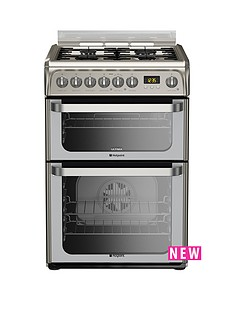 hotpoint-hud61xs-60cm-dual-fuel-cooker-gas-hob-with-fsd-stainless-steel
