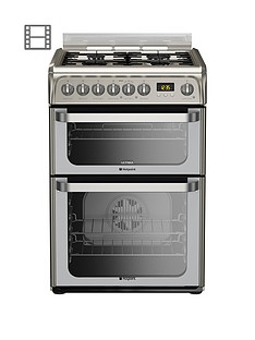 Hotpoint Ultima HUD61XS 60cm Dual Fuel Cooker, Gas Hob with FSD - Stainless Steel