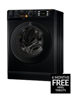 Indesit XWDE861480XK 1400 Spin, 8kg Wash, 6kg Dry Washer Dryer - Black