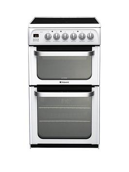 Hotpoint Ultima Hue53Ps 50Cm Electric Cooker With Ceramic Hob - White Review thumbnail