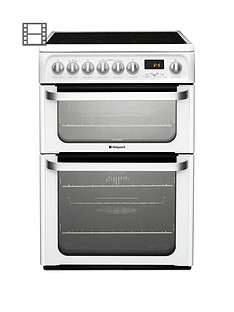 Hotpoint Ultima HUE62PS 60cm Wide, Double Oven Electric Cooker with Ceramic Hob - White