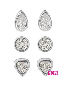 love-silver-sterling-silver-6mm-round-6mm-heart-teardrop-cz-rubover-set-of-3-earrings