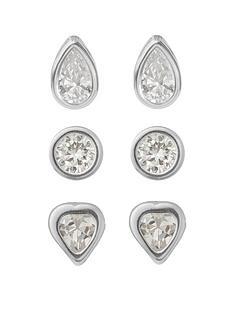 love-silver-sterlingnbspsilver-round-heart-and-teardrop-cubic-zirconianbspset-of-3-earrings