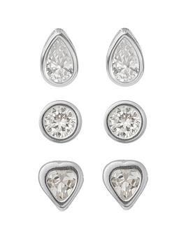 the-love-silver-collection-sterlingnbspsilver-round-heart-and-teardrop-cubic-zirconianbspset-of-3-earrings