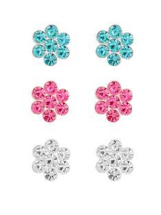 love-silver-sterling-silver-crystal-small-flower-set-of-3-earrings