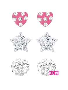 love-silver-sterling-silver-ball-heart-and-star-crystal-stud-childrens-set-of-3-earrings