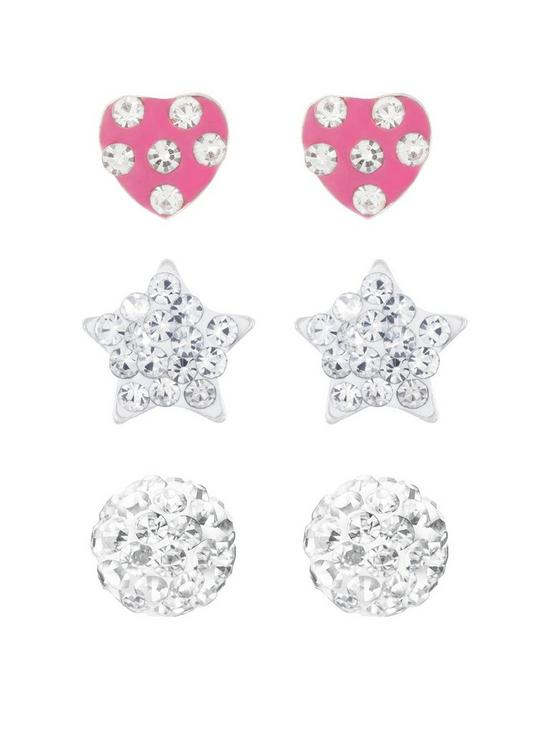 b735c4fd4 The Love Silver Collection Sterling Silver Ball, Heart and Star Crystal Stud  Childrens Set of 3 Earrings