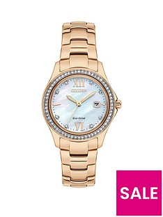 citizen-eco-drivenbspmother-of-pearl-dial-rose-gold-tone-bracelet-ladies-watch