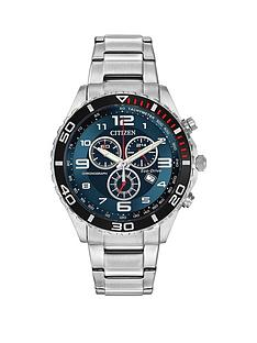 citizen-eco-drivenbspblue-chronograph-dial-stainless-steel-bracelet-mensnbspwatch