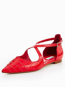 Dune London Camiler Flat Cross Strap Court