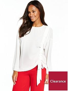 v-by-very-cuffed-sleeves-crew-neck-ruchednbspblouse-white