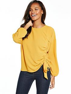 v-by-very-ruched-top-mustard