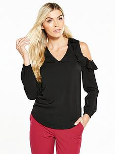 v-by-very-satin-frill-cold-shoulder-blouse-black
