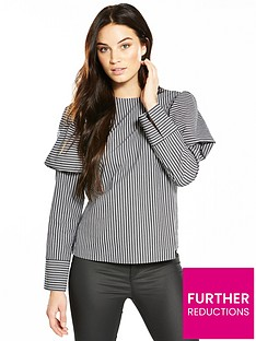 v-by-very-stripe-puff-sleeve-blouse