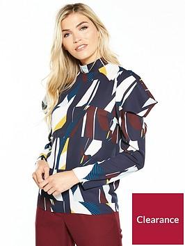 v-by-very-high-neck-geometric-print-blouse