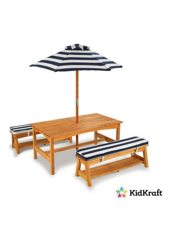 Kidkraft Outdoor Picnic Table Bench Set With Cushions Umbrella