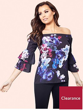 jessica-wright-flissie-blue-bardot-floral-top