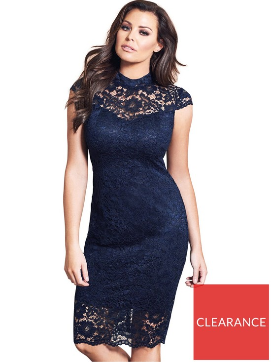 5cfca4592064 Jessica Wright Collette High Neck Lace Midi Dress - Navy   very.co.uk