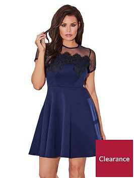 jessica-wright-cleide-contrast-lace-skater-dress-navy