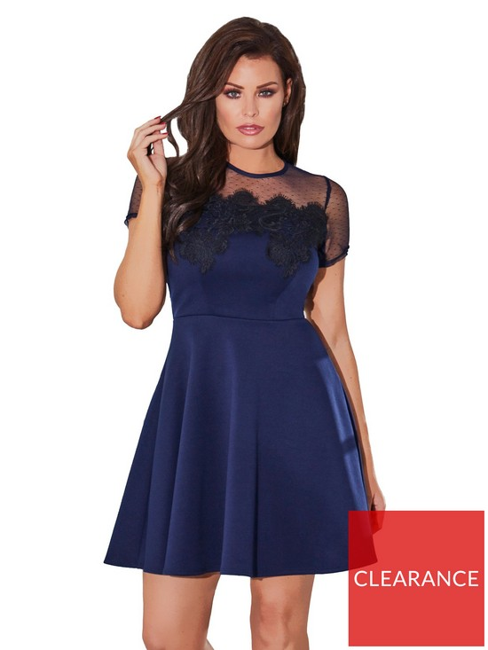 7192d8fa1 Jessica Wright Cleide Contrast Lace Skater Dress - Navy