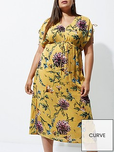 ri-plus-floral-ruched-sleeve-midi-dress