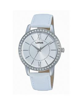 lorus-womens-white-leather-strap-watch