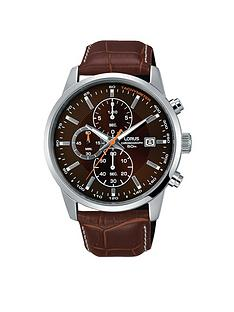 lorus-lorus-mens-brown-leather-strap-chronograph-watch