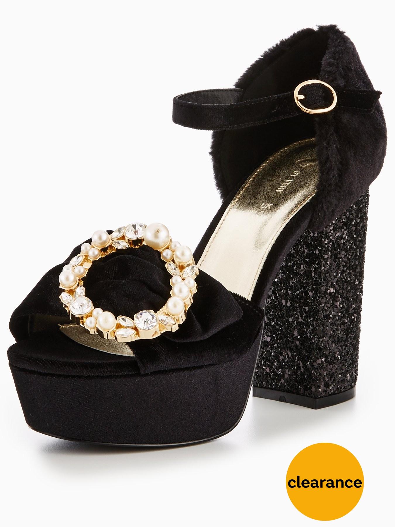 V by Very Nikita Glitter Heel Platform Sandal Black 1600200751 Women's Shoes V by Very Heels