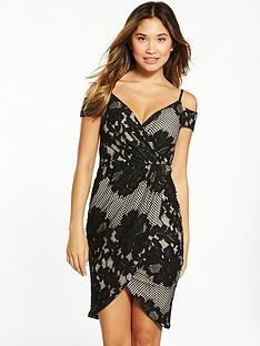 ax-paris-cold-shoulder-wrap-midi-dress