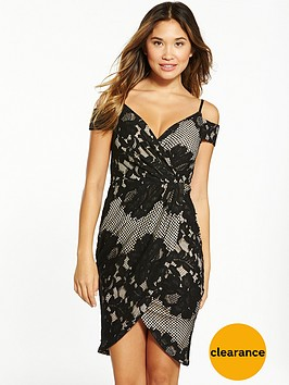 ax-paris-cold-shoulder-wrap-midi-dress