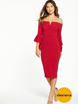 ax-paris-bardot-flute-sleeve-midi-dress