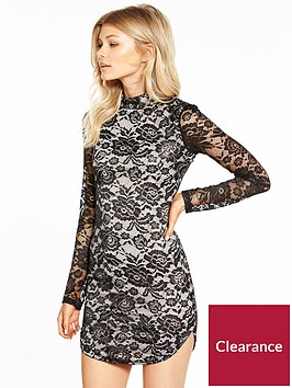 ax-paris-ax-paris-petite-long-sleeve-lace-curve-hem-mini-dress