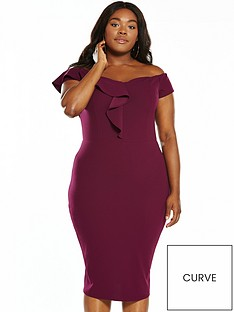 ax-paris-curve-frill-bardot-midi-dress
