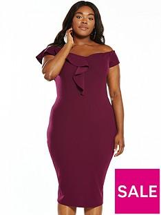 ax-paris-curve-frill-bardot-midi-dress