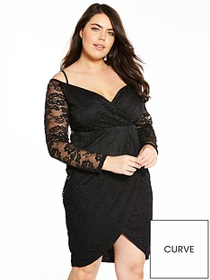 ax-paris-curve-ax-paris-curve-cold-shoulder-lace-wrap-dress