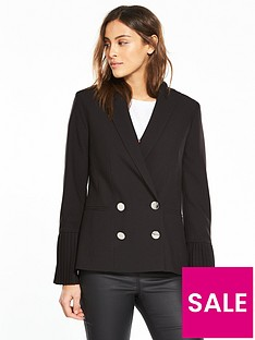 v-by-very-pleat-sleeve-double-breasted-blazer