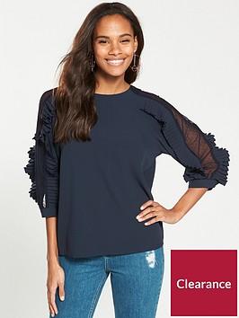 v-by-very-frill-mesh-sleeve-blouse-navy