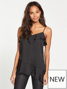 v-by-very-asymmetric-frill-cami-black