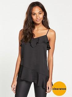 v-by-very-asymmetric-frill-cami-black