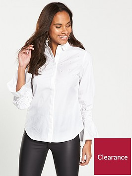 v-by-very-pearl-detail-shirt-white